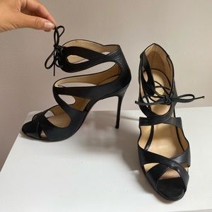 LOUBOUTIN Strappy Black Leather Sandals 37 US7